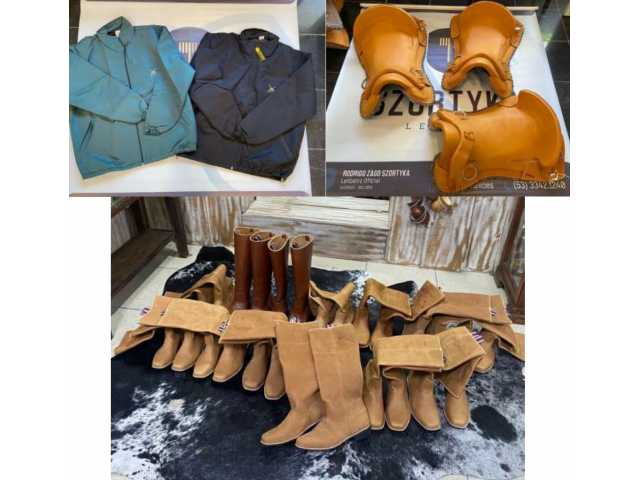 Leilão de uma máquina de dobrar canos e diversas selas, botas e jaquetas.